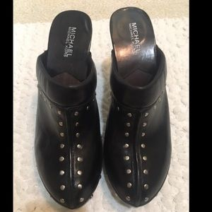 Auth Michael Kors Black leather heel clogs size 9